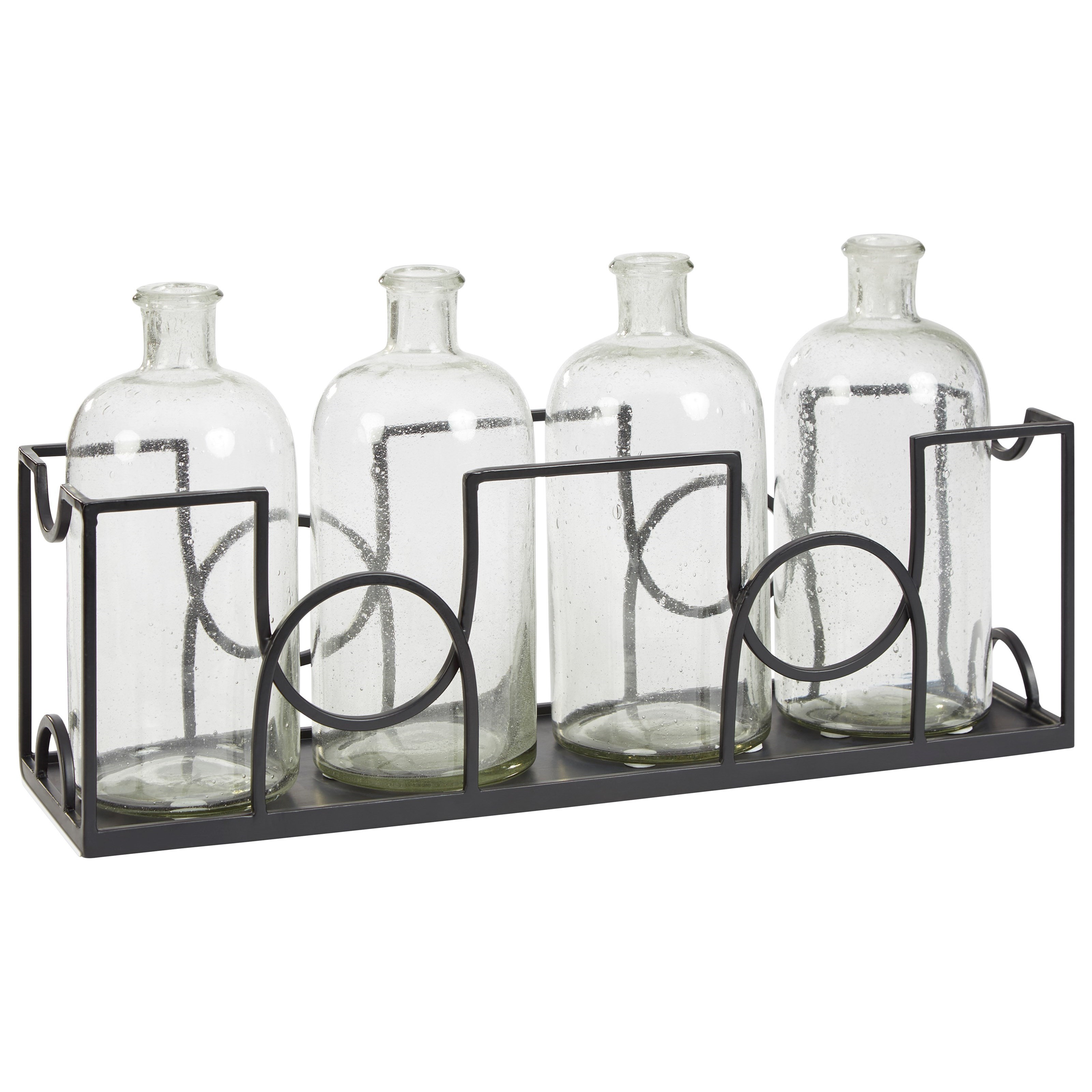 Dmitri Clear/Black Accessory Set with 4 Vases and Tray