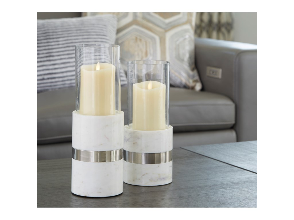 Signature Design by Ashley AccentsGracelyn White/Silver Candle Holder Set