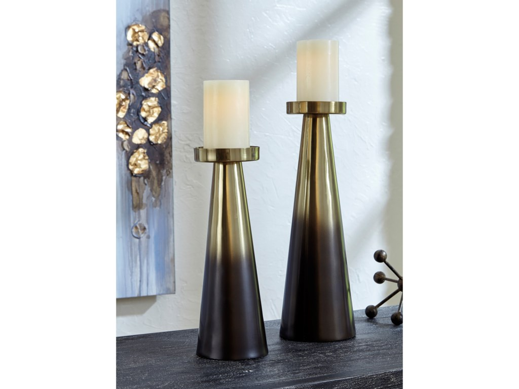 Signature Design by Ashley AccentsTheseus Brown/Golden Candle Holder Set
