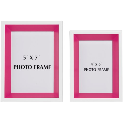 Signature Design by Ashley Accents Obie White/Pink Photo Frame (Set ...