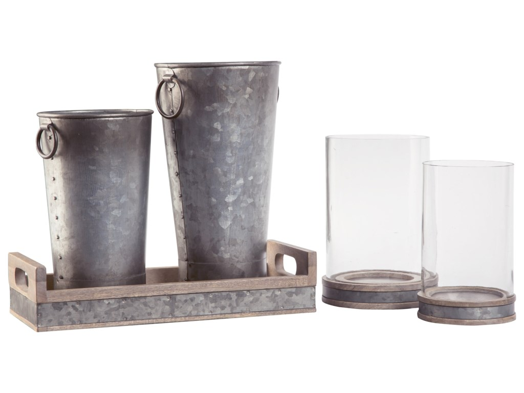 Signature Design by Ashley Accents5-Piece Donae Natural/Gray Accessory Set