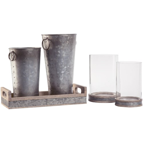 Signature Design by Ashley Accents 5-Piece Donae Natural/Gray Accessory Set