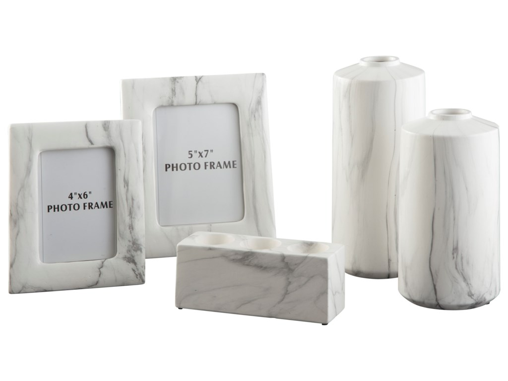 Signature Design by Ashley Accents5-Piece Diogo White Accessory Set