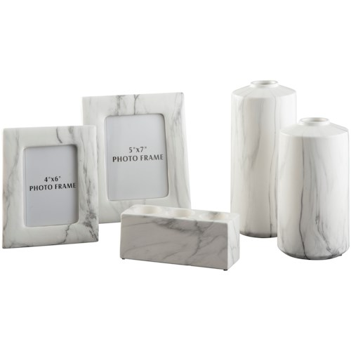 Signature Design by Ashley Accents 5-Piece Diogo White Accessory Set