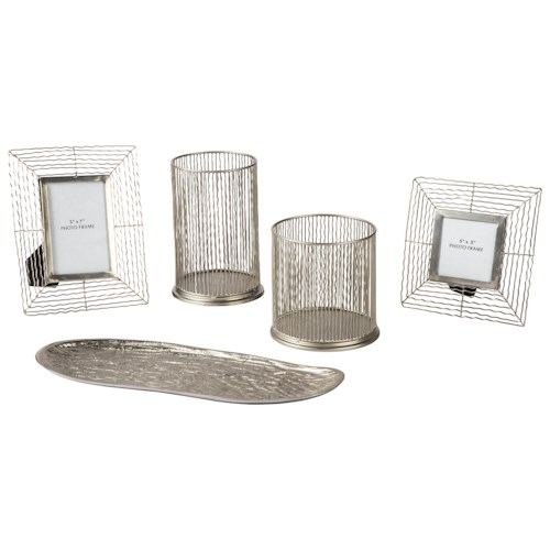 Signature Design by Ashley Accents Dympna Silver Finish Accessory Set