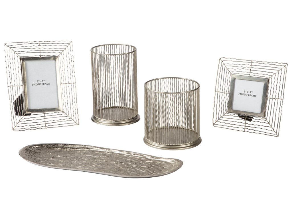Signature Design by Ashley AccentsDympna Silver Finish Accessory Set