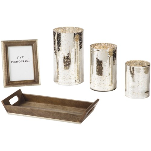 Signature Design by Ashley Accents Dexton Brown/Silver Finish Accessory Set