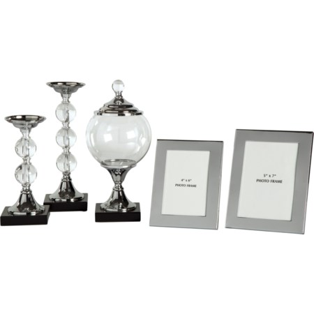 5-Piece Diella Silver Finish Accessory Set