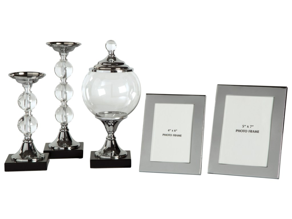 Ashley (Signature Design) Accents5-Piece Diella Silver Finish Accessory Set