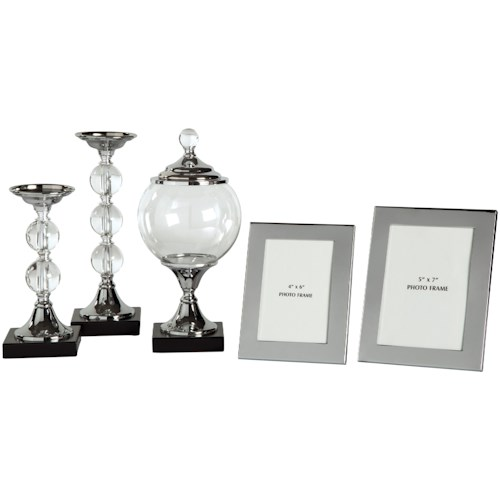 Signature Design by Ashley Accents 5-Piece Diella Silver Finish Accessory Set
