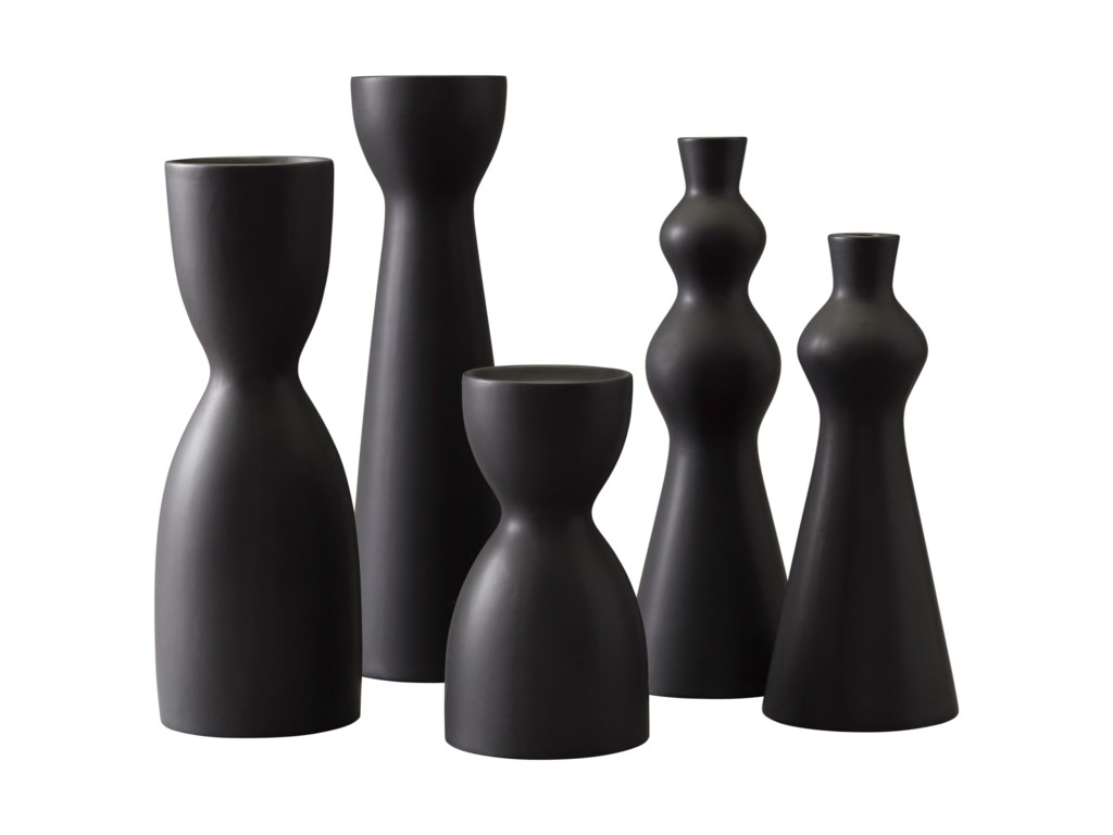 Signature Design by Ashley AccentsDestry Black Candle Holders (Set of 5)