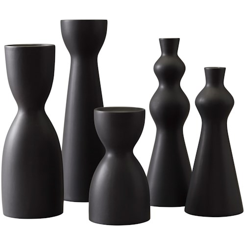 Signature Design by Ashley Accents Destry Black Candle Holders (Set of 5)