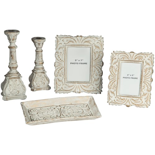 Signature Design by Ashley Accents 5-Piece Dilys Antique White Accessory Set
