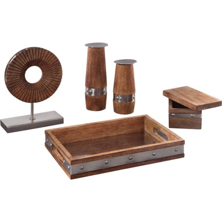 5-Piece Dinh Brown/Chrome Accessory Set