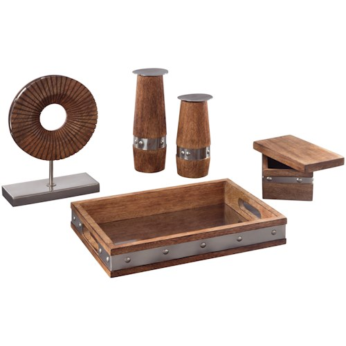 Signature Design by Ashley Accents 5-Piece Dinh Brown/Chrome Finish Accessory Set