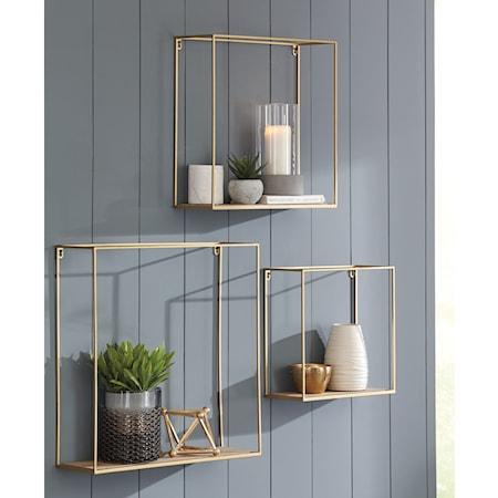 3-Piece Efharis Natural/Gold Wall Shelf Set