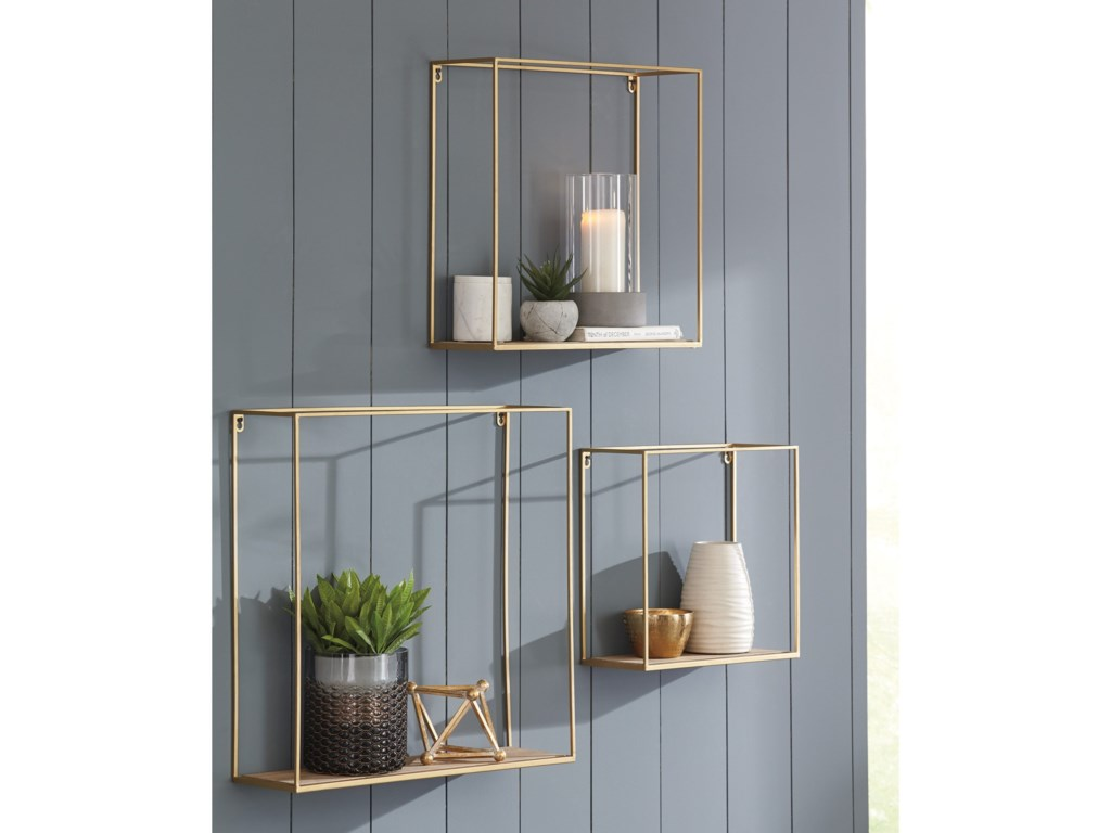 Signature Design by Ashley Wall Art3-Piece Efharis Natural/Gold Wall Shelf Set