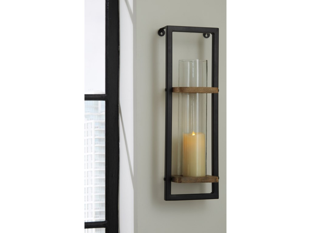 Signature Design by Ashley Wall ArtColburn Natural/Black Wall Sconce