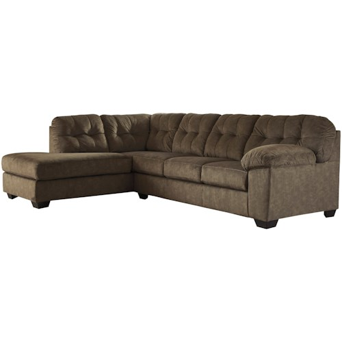 Signature Design by Ashley Accrington Contemporary Sectional with Left Chaise and Pillow Arm