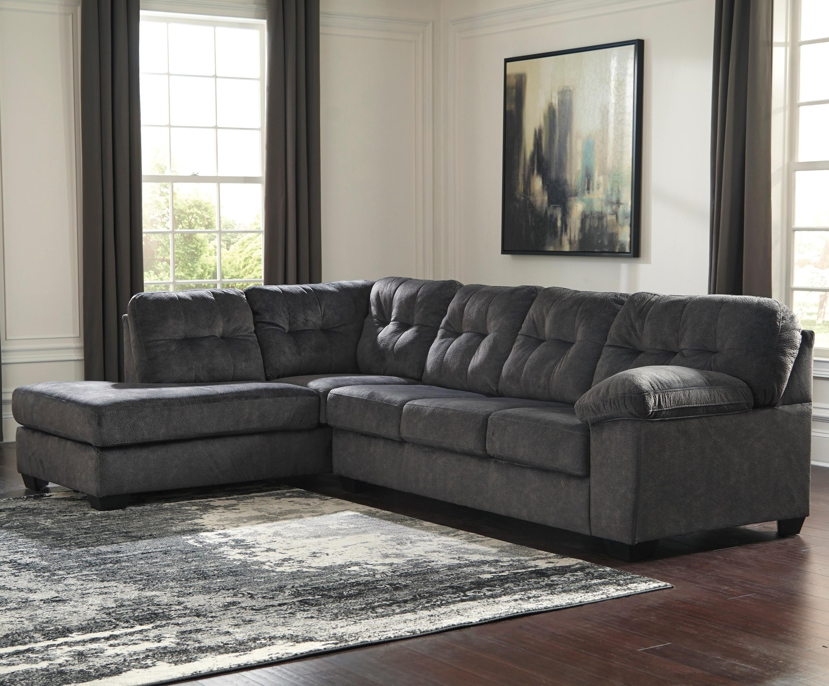 Signature Design By Ashley Accrington Sectional With Left Chaise U0026 Memory  Foam Queen Sleeper Mattress