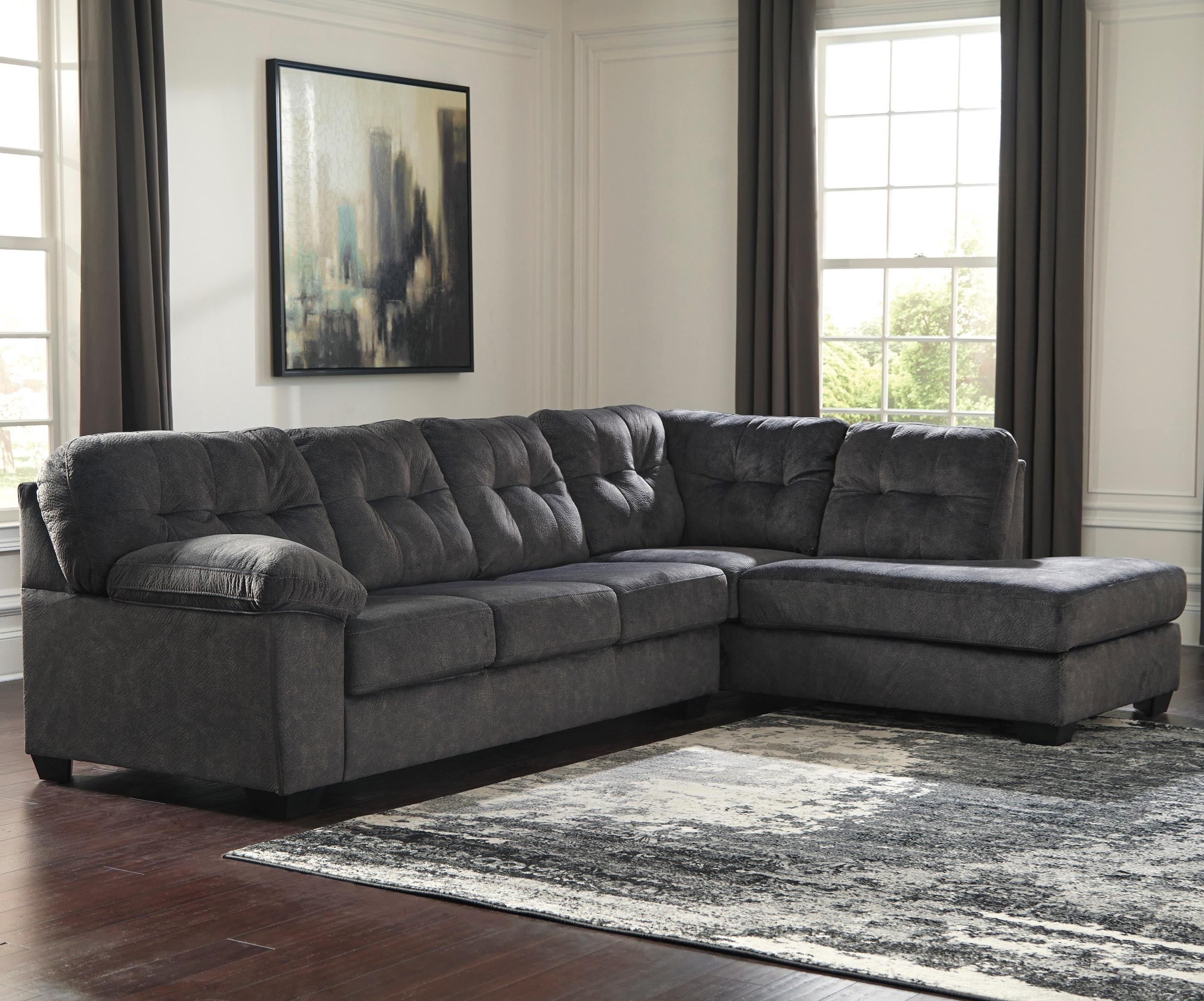 signature design by ashley accrington sectional with right chaise u0026 memory foam queen sleeper mattress household furniture sectional sofas