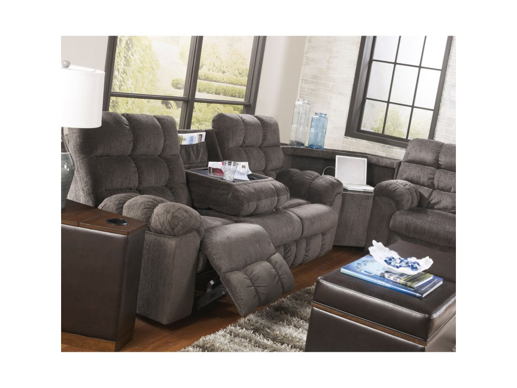 Ashley Signature Design Acieona - SlateReclining Sectional with Right Side Loveseat