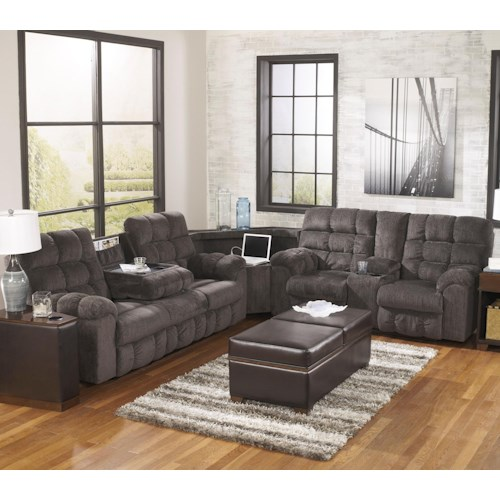 Signature Design by Ashley Acieona - Slate Reclining Sectional Sofa with Right Side Loveseat, Cup Holders and Charging Station