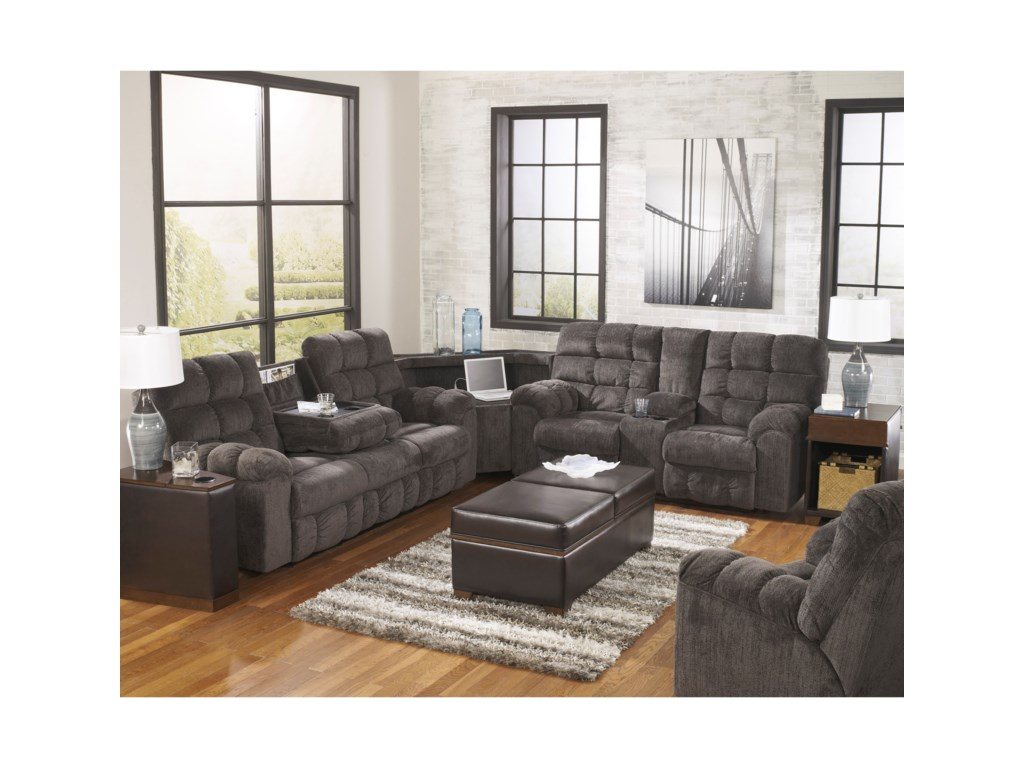 Ashley (Signature Design) Acieona - SlateReclining Sectional with Right Side Loveseat