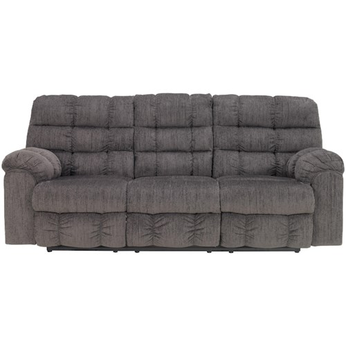 Signature Design by Ashley Acieona - Slate Reclining Sofa with Drop Down Table and Cup Holders