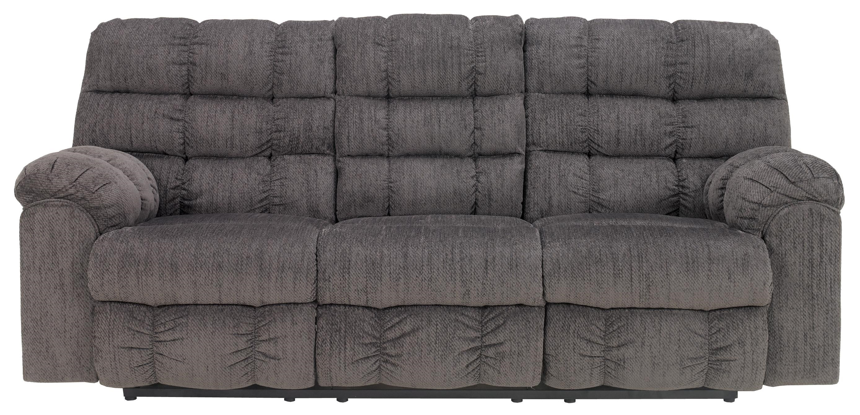 Signature Design By Ashley Acieona   Slate Reclining Sofa With Drop Down  Table And Cup Holders