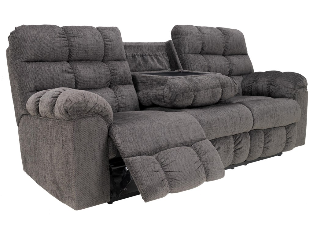 Ashley Signature Design Acieona - SlateReclining Sofa with Drop Down Table