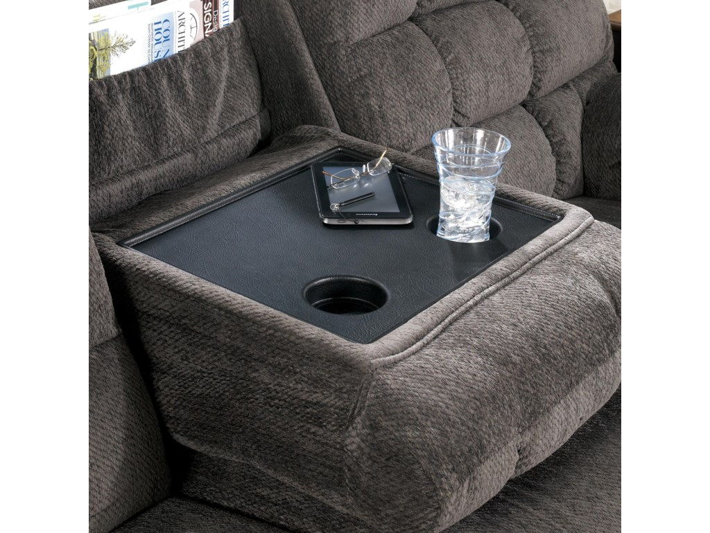 Signature Design by Ashley Acieona - SlateReclining Sofa with Drop Down Table