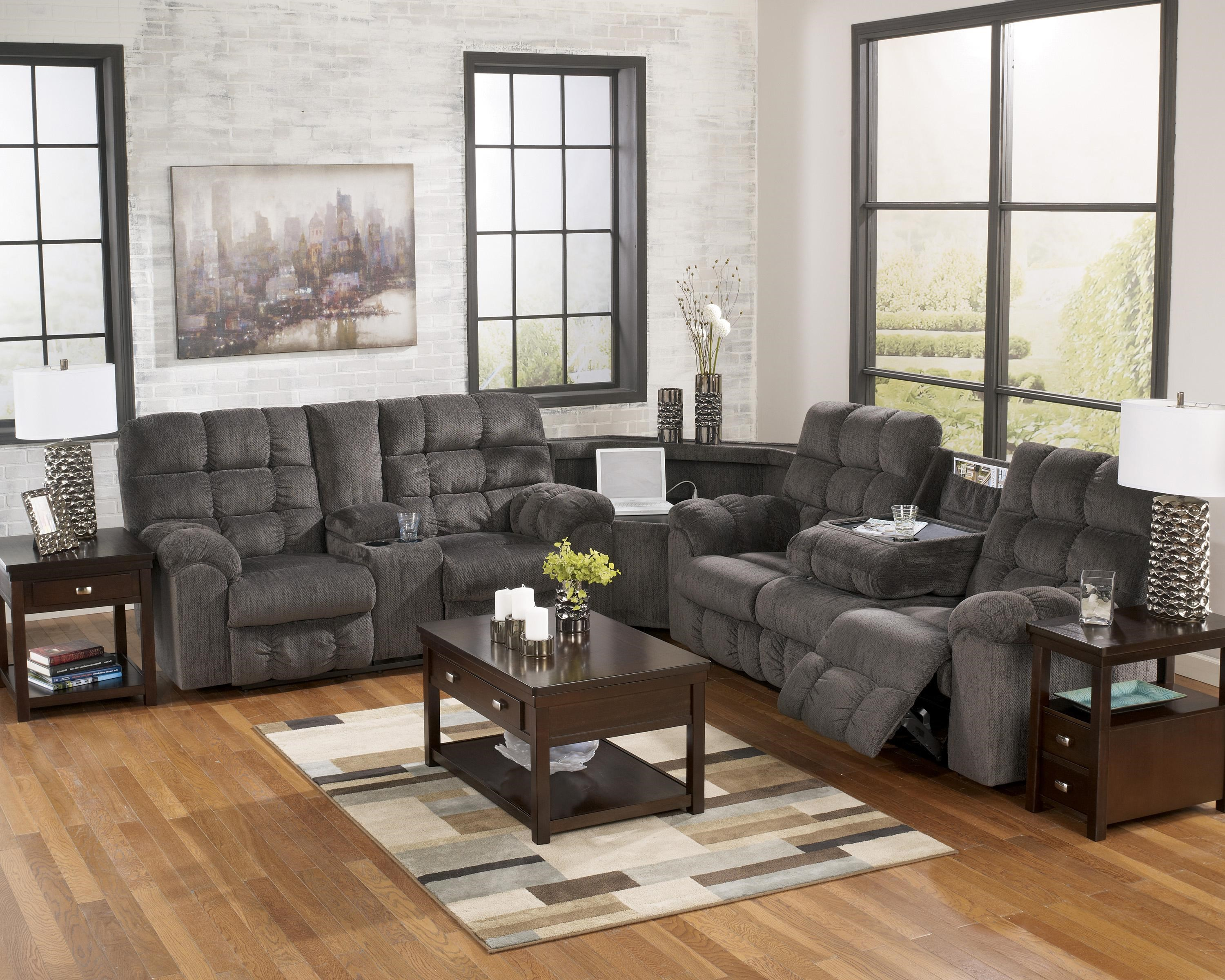 Reclining Sectional with Left Side Loveseat, Cup Holders and Charging Station