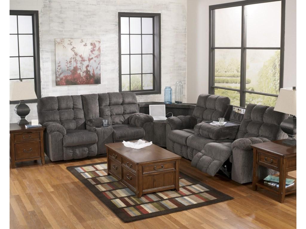 Ashley (Signature Design) Acieona - SlateReclining Sectional with Left Side Loveseat
