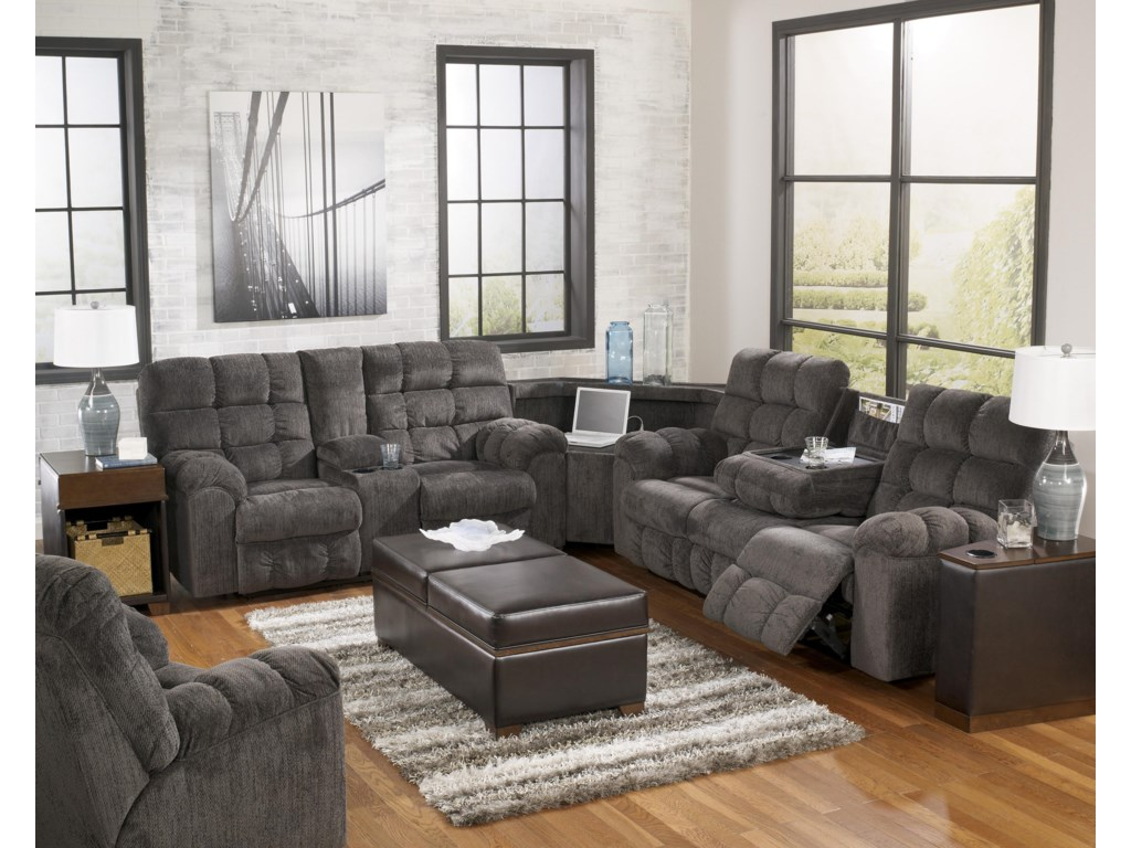 Ashley Signature Design Acieona - SlateReclining Sectional with Left Side Loveseat