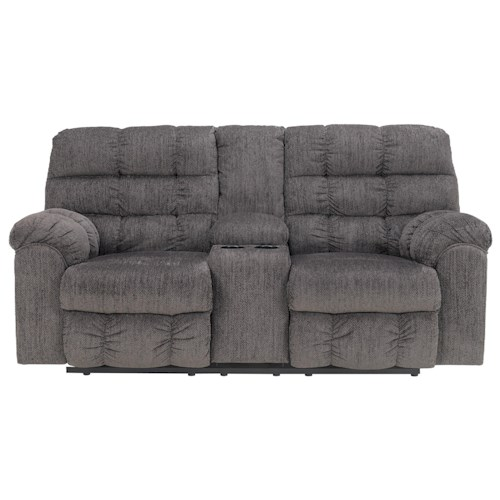 Signature Design by Ashley Furniture Acieona - Slate Double Reclining Loveseat with Console and Cup Holders