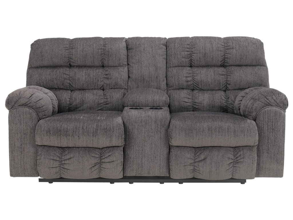 Signature Design by Ashley Acieona - SlateDouble Reclining Loveseat with Console
