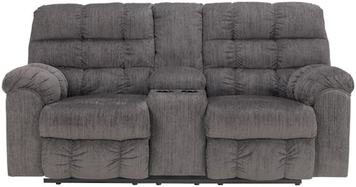 Signature Design by Ashley Acieona - Slate Double Reclining Loveseat with Console and Cup Holders