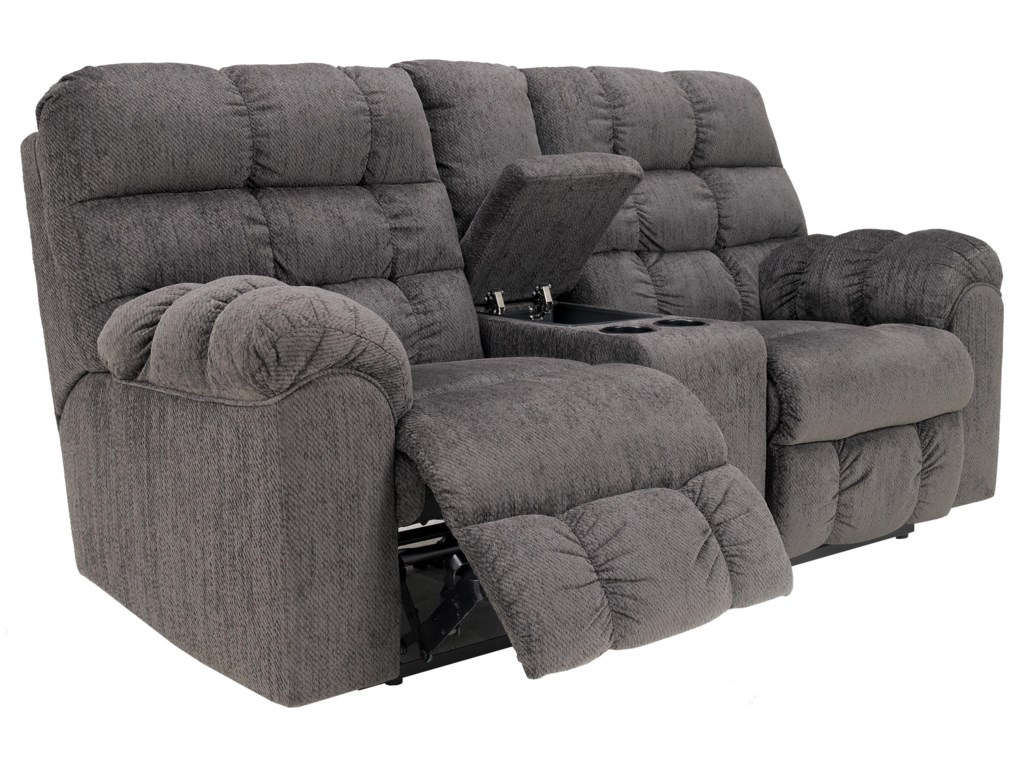 Ashley (Signature Design) Acieona - SlateDouble Reclining Loveseat with Console