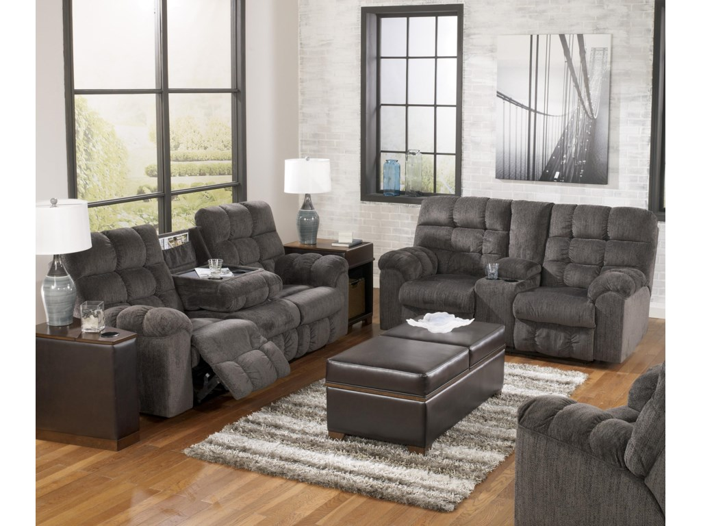 Signature Acieona - SlateDouble Reclining Loveseat with Console