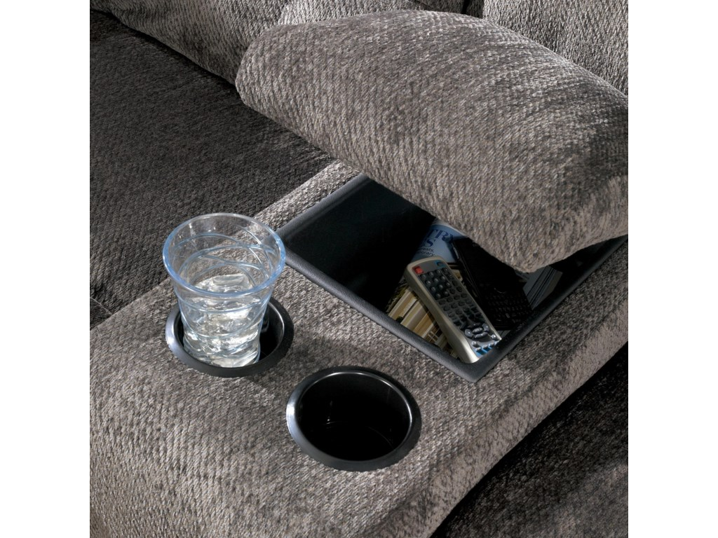Built-In Storage Consoles Provide a Place for DVDs or Remotes While At-Hand Cup-Holders Provide a Movie Theater Setting