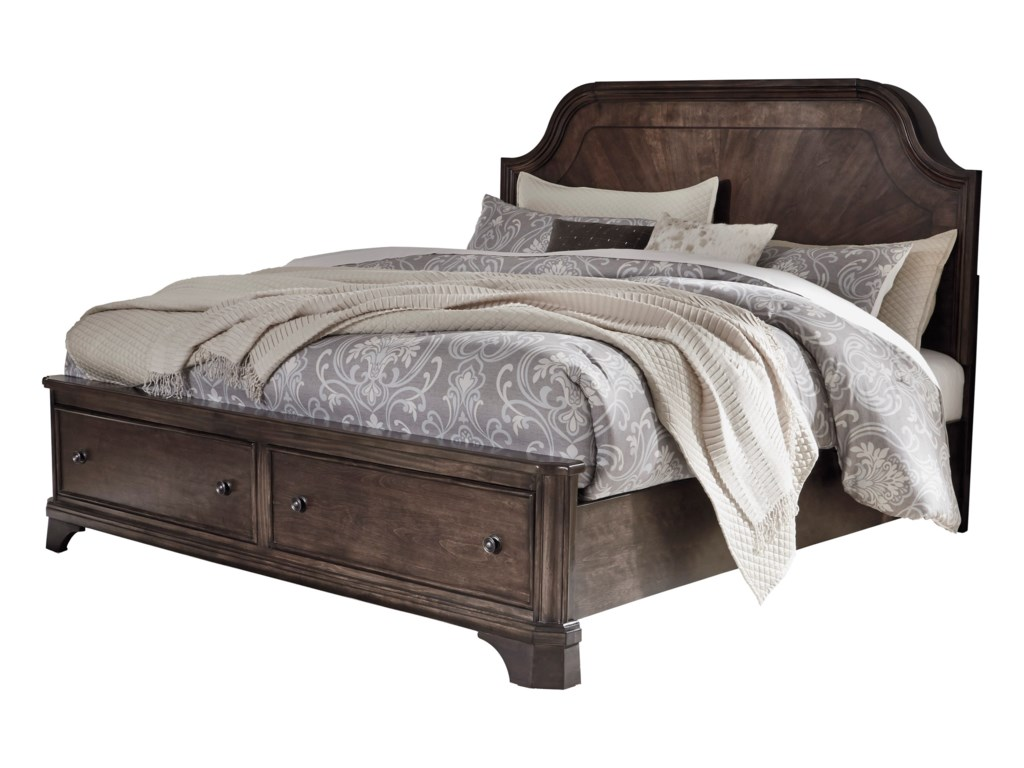 Signature Design AdintonKing Panel Bed with Storage Footboard
