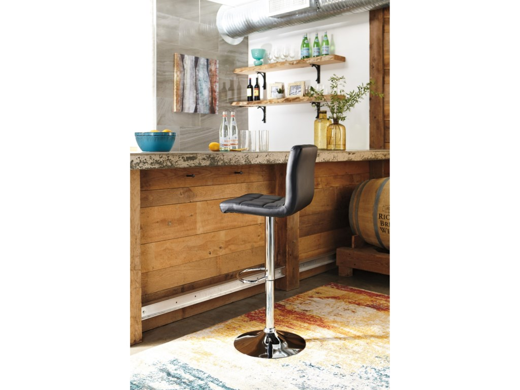 Signature Design by Ashley Adjustable Height BarstoolsTall Upholstered Swivel Barstool