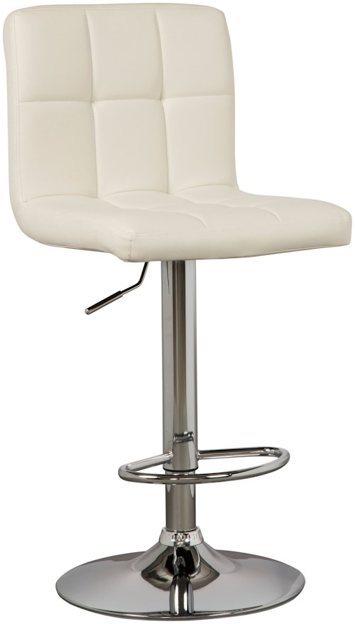 Signature Design by Ashley Adjustable Height Barstools Tall Upholstered Swivel Barstool in Bone Faux Leather