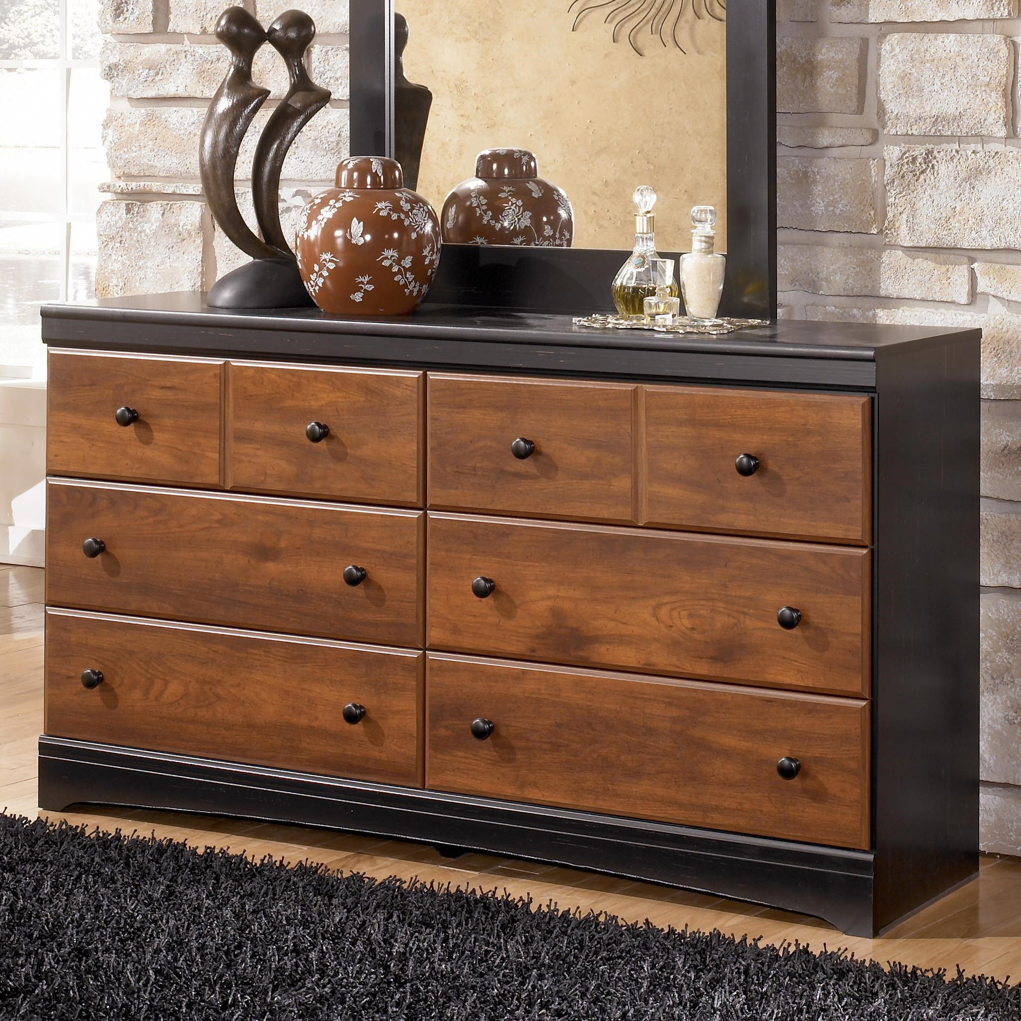 Merveilleux Signature Design By Ashley Aimwell Two Tone Finish Dresser With 6 Drawers