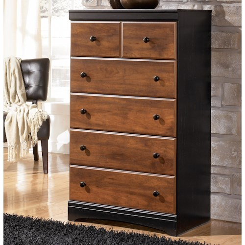 Signature Design by Ashley Aimwell Two-Tone Finish Chest with 5 Drawers