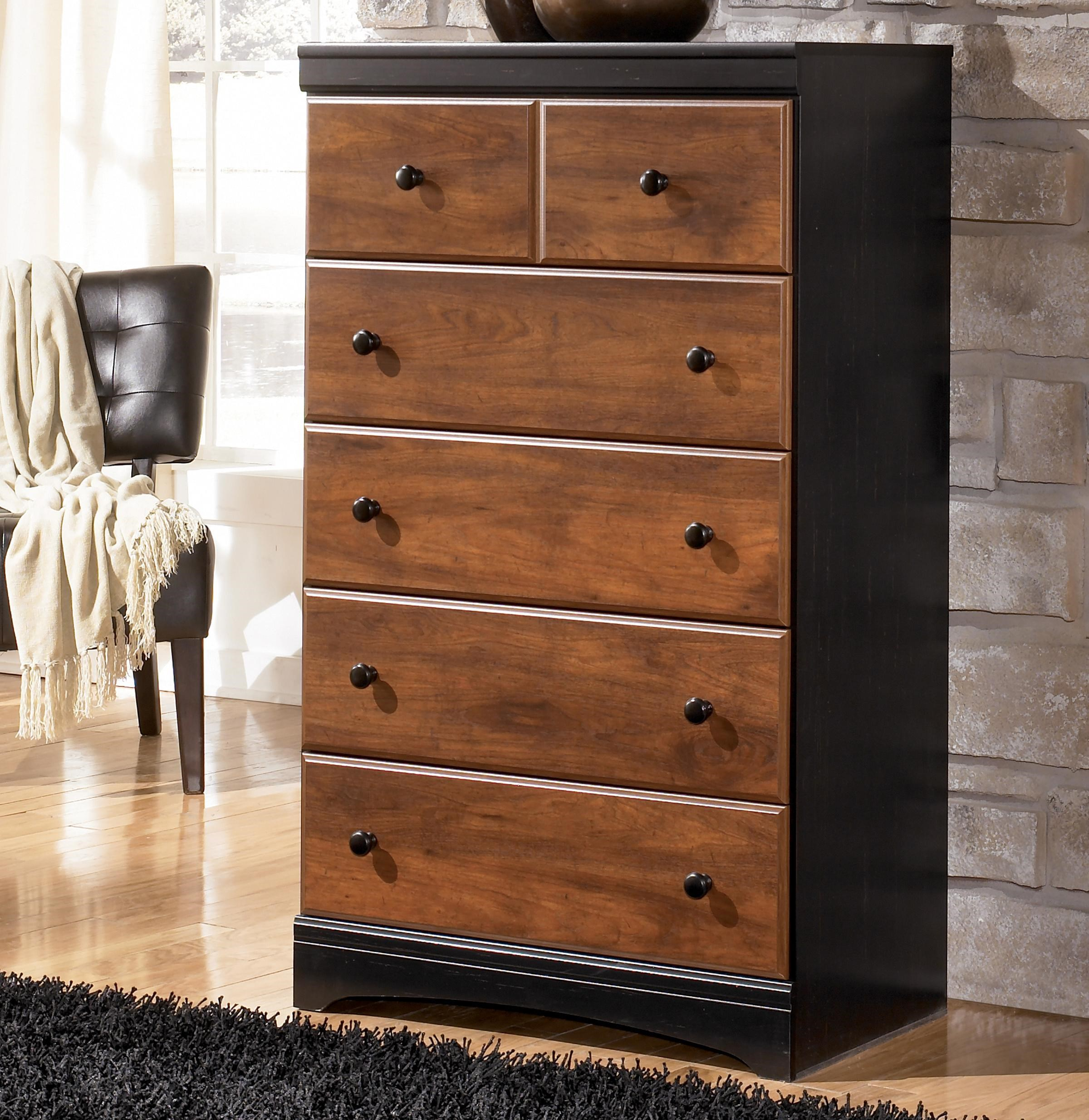 Signature Design By Ashley Aimwell Two Tone Finish Chest With 5 Drawers