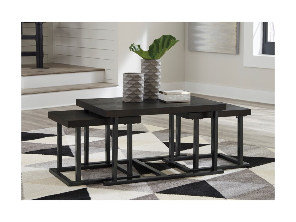 Signature Design by Ashley AirdonCocktail Table with 2 Bunching Tables