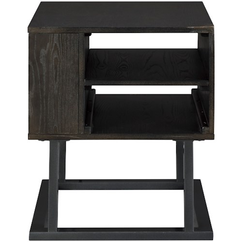 Signature Design by Ashley Airdon Contemporary Square End Table with Outlets and USB Ports