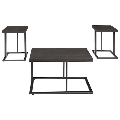 Signature Design by Ashley Airdon 3-Piece Occasional Table Set with Modern Metal Bases & Distressed Ash Veneer Tops